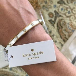 NWT Kate Spade White Set in Stone Hinged Bangle